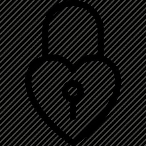 heart lock, love, privacy, romantic, secret feelings icon