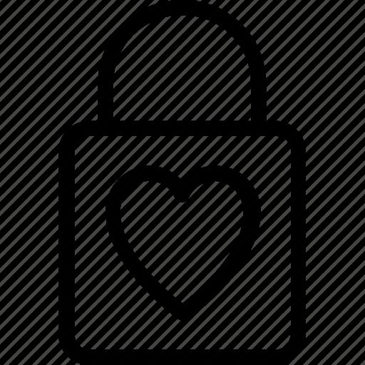 hand bag, heart, shopping bag, valentine gift, valentine shopping icon