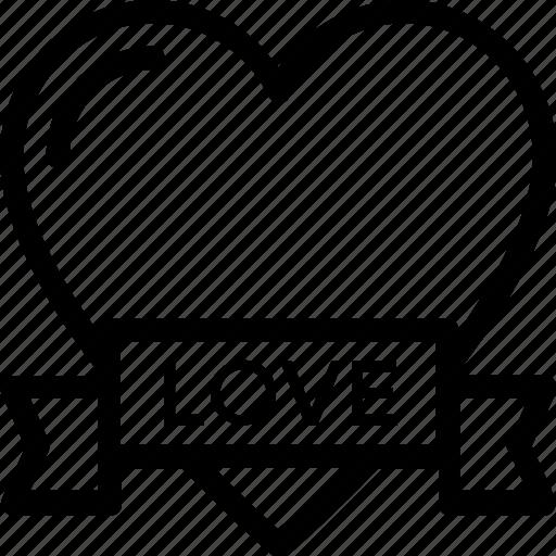 heart, heart badge, insignia, love badge, ribbon badge icon