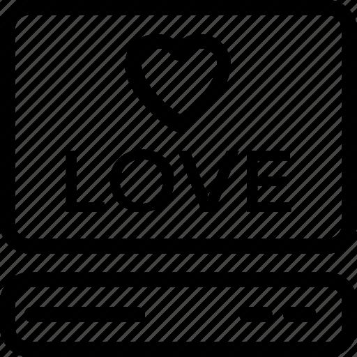 computer, heart, love screen, loving, romance icon