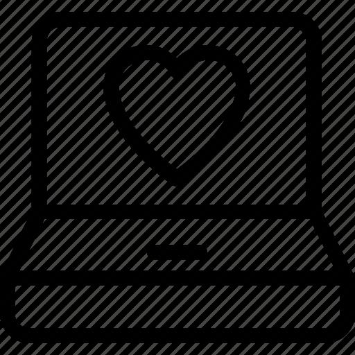 computer, laptop, love screen, loving, romance icon