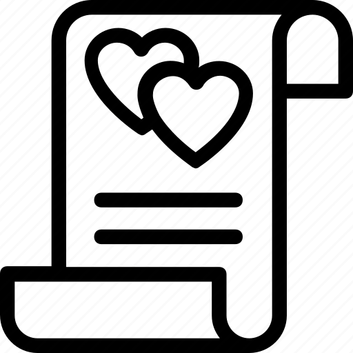 correspondence, hearts, love, loving paper, paper icon
