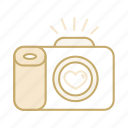 camera, heart, love, photography, wedding icon