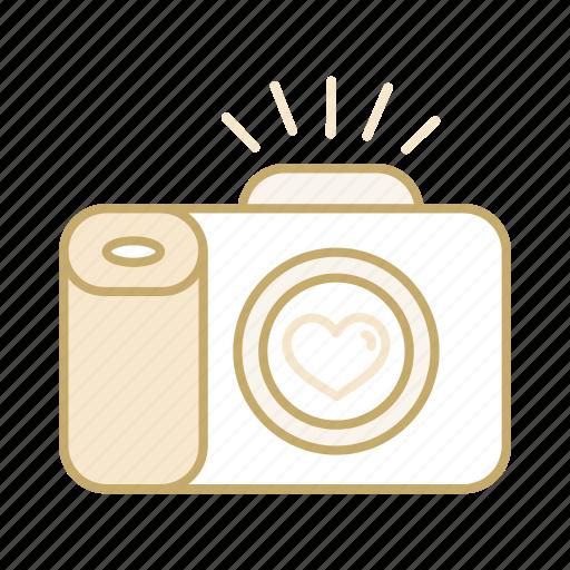 camera, heart, love, photography, wedding icon