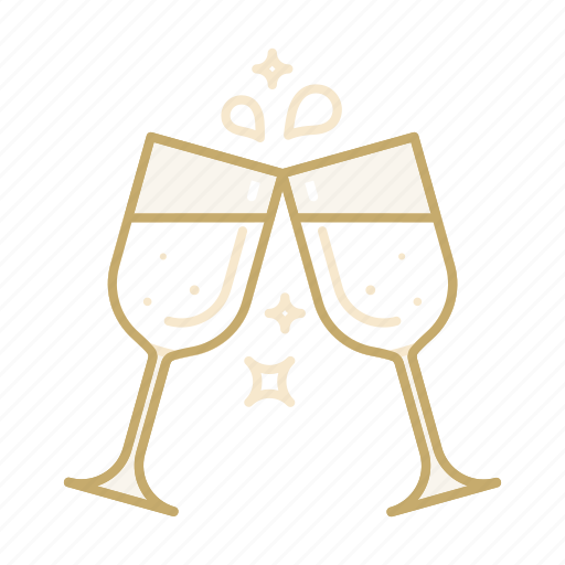 celebration, champagne, glass, marriage, wedding icon