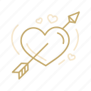 arrow, celebration, heart, love, valentine, wedding icon