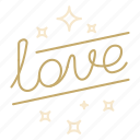 lettering, love, script, valentine, wedding icon