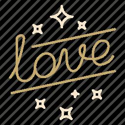 lettering, love, script, valentine, wedding icon