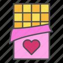 chocolate, eat, heart, love, sweet icon