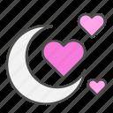 heart, honey, love, moon, valentines day icon