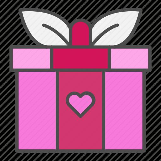gift, heart, love, valentine, valentines day icon