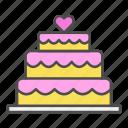 cake, heart, love, valentine, wedding icon