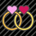 heart, love, rings, valentine, wedding icon
