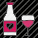 alcohol, heart, love, valentine, wine icon
