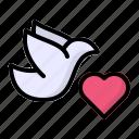 animal, bird, dove, heart, wedding icon