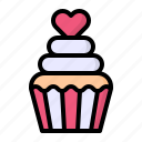 cake, cream, cupcake, food, heart