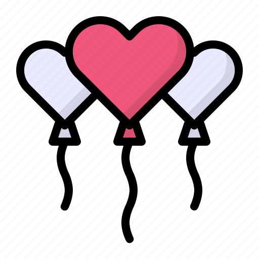 balloon, balloons, decoration, heart, party, wedding icon