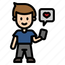 love, valentine, heart, chatting, man, phone