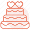 birthday, cake, heart, love, romance, valentines, wedding icon