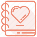 book, heart, love, notes, romance, valentines, wedding icon