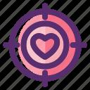 heart, love, love target, romantic, target, valentine, valentine day icon