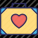 couple luggage, heart, luggage, luggage bag, romance icon