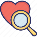 dating concept, heart, love symbol, magnifier, marriage proposal icon