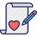 inspiration, love article, paper, pencil, writing icon