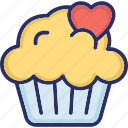 cake, cupcake, dessert, heart sign, muffin icon