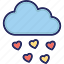 loving, heart sign, heart cloud, valentine, cloud icon