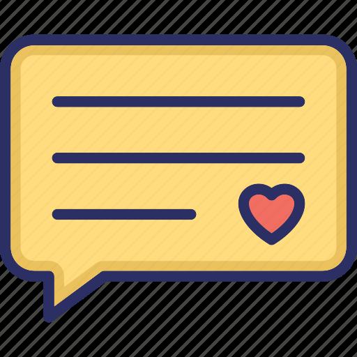 chat balloon, chat bubble, loving chat, speech balloon, speech bubble icon