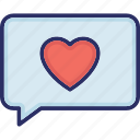 chat balloon, chat bubble, loving chat, speech balloon, speech bubble icon