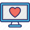heart on monitor, heart screen, led, loving, monitor screen icon
