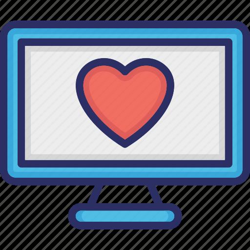 heart on monitor, heart screen, led, loving, monitor screen icon