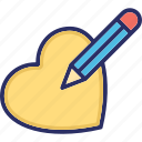 heart editing, paper, pen, signature, writing icon