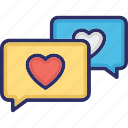 chat balloon, chat bubble, speech balloon, speech bubble, v loving chat icon