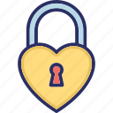 heart shaped, love secret, padlock, privacy, relationship protection icon
