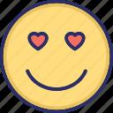 adoring, emoticons, hear eye, heart, in love icon