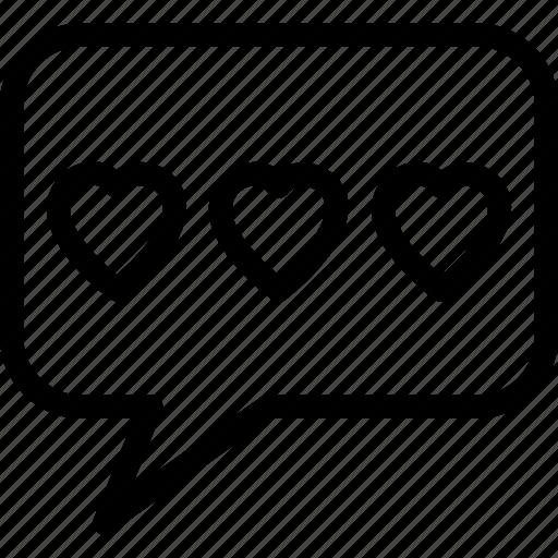 bubble, chat, heart, love, speech icon