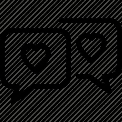 bubble, chat, heart, love, talk icon