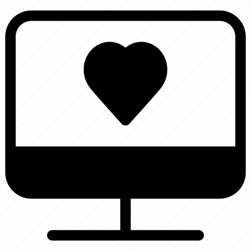 computer, heart, love, monitor, pc icon