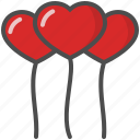balloons, heart, hearts, love, saint valentine, valentine's day icon