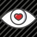 eye, heart, in love, look, saint valentine, valentine's day icon