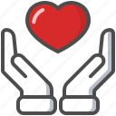 hands, heart, in love, saint valentine, valentine's day icon