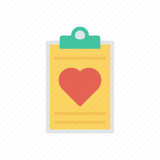 clipboard, letter, love, page icon