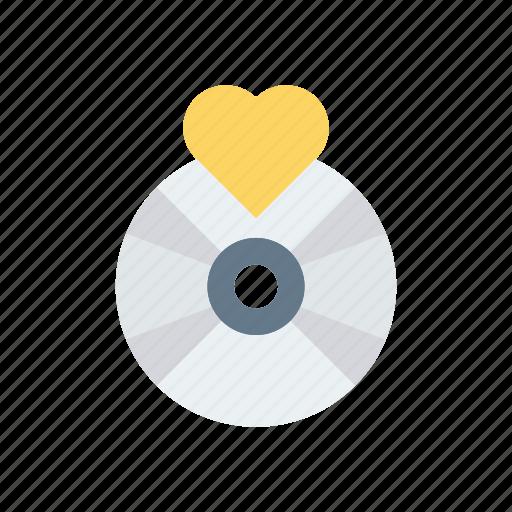 cd, disk, dvd, love icon