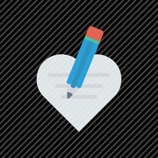 edit, love, pencil, write icon
