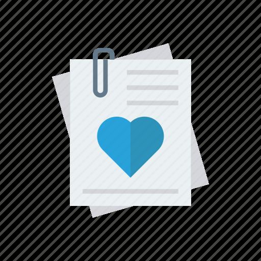 attachment, document, file, love icon