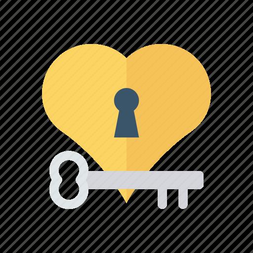 heart, key, lock, love icon