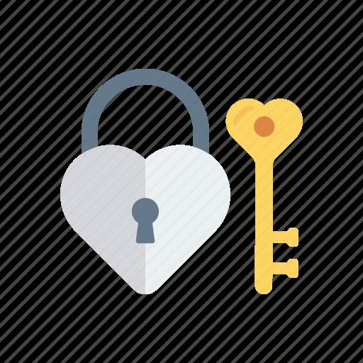 access, heart, key, lock icon